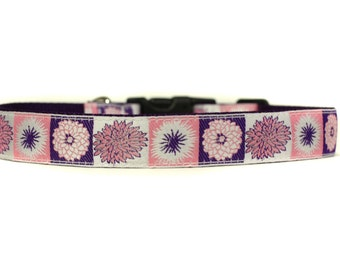 1 Inch Wide Dog Collar with Adjustable Buckle or Martingale in Blossom
