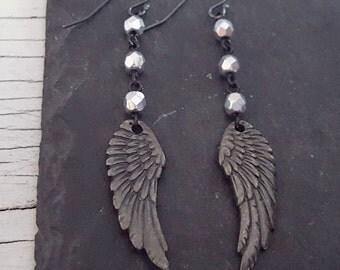 Black Angel Wing Earrings, Oxidized Silver Wing Black Silver Bead Long Dangle Rustic Earrings, Rustic Jewelry, Rocker Edgy Jewelry Rock Chic