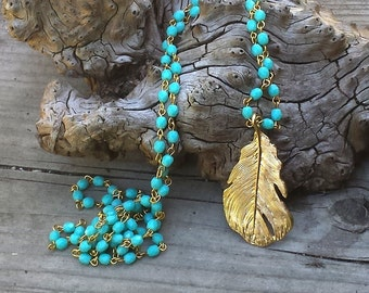 Long Blue Green Turquoise Necklace, Long Beaded Necklace, Turquoise Bead, Blue Green Turquoise, Gold Feather Pendant, Long Pendant Necklace