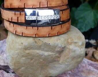 Leather Wrap Bracelet Camel Color 10mm Flat Bark Leather Triple Wrap Cuff Bracelet with Magnetic Clasp