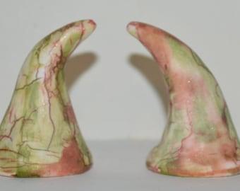 Horns Faux Ceramic Polymer Clay Festival, Halloween, Troll, Devil, Ren Fair