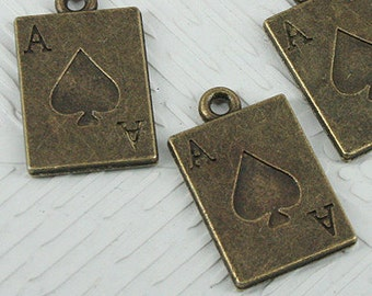 Poker cards charms bronze color Ace of Spades  findings bronze quantity 6    jewelry supplies   (AAA7)