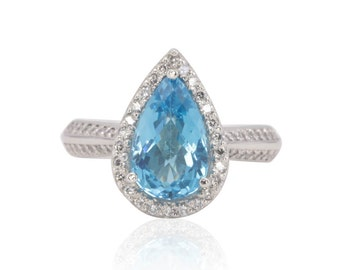 Halo Engagement Ring with 2 Carat Pear cut Blue Topaz and Diamond Knife Edge Shank in 14k White Gold - Florence Collection - LS4691