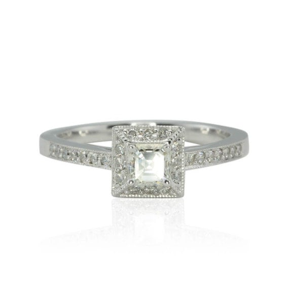Diamond Engagement Ring - Asscher cut Diamond Ring with Square Halo and Milgrain Detail in 14k White Gold - LS888