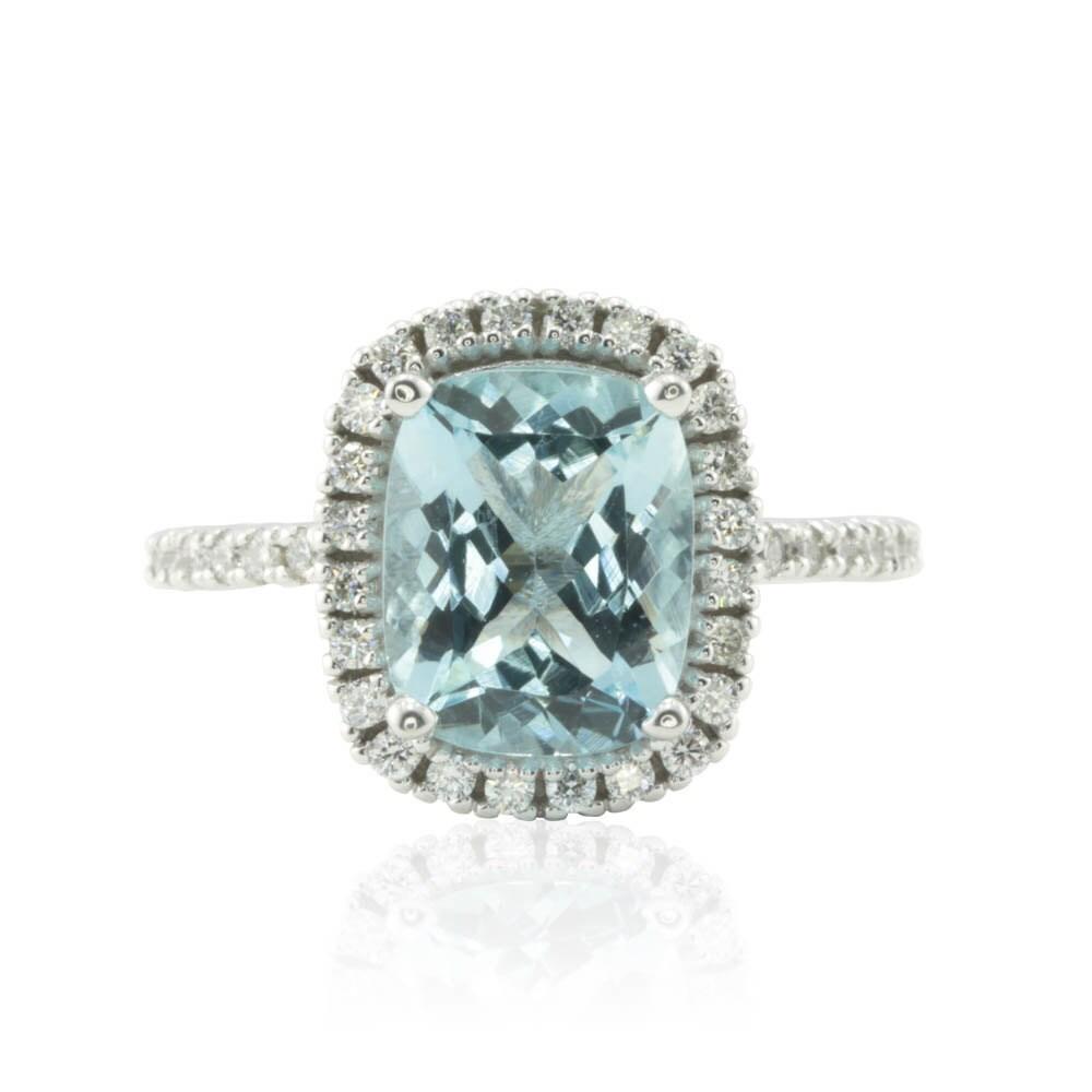 Halo Engagement Ring Rectangular Cushion cut Aquamarine Ring