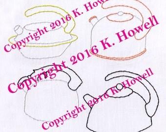 Tea Hand Embroidery Pattern, Tea Kettles, Tea Pot, PDF