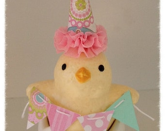 Birthday Decoration Shabby Chic Chick Figurine Cake Topper,Birthday Ornament for Birthday Party