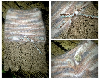"""NEST """"Twig"""" Angora Dog Sweater Dress -- Hand Knit -- OOAK with Trims from Paris!"""