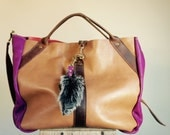 NEW//JOSEPHINE Shopper In Camel Brown, and Magenta Leather with Brown Horween Leather Accents
