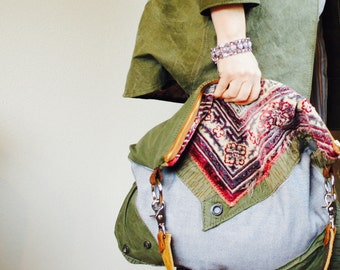 NEW/ XL//Agatha//in Military Canvas,Vintage Denim, and Retro Carpet with Clip on Strap