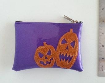 Coin purse purple metalflake vinyl with orange pumpkins