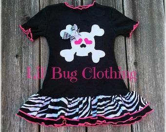 Pirate  Crossbones Skull Girls Dress, Pirate Skull Birthday Party Dress, Zebra Print Pirate Dress, Summer Girl Dress, Boutique GIrl Dress