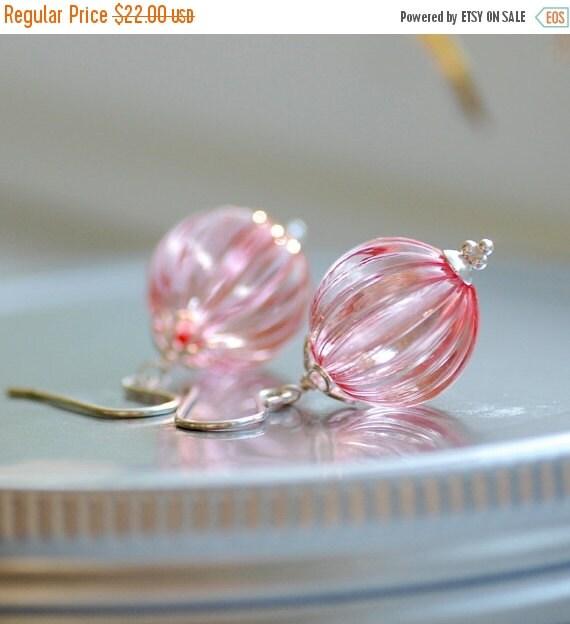 Honeysuckle Pink Earrings, Rose Pink, Acrylic Earrings, Textured Jewelry, Pastel Jewelry, Sterling Silver