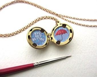 Rainy Day Umbrella Locket, Hand-Painted in Oil Enamel, Tiny Bit of Sympathy Gift