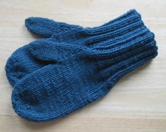 MITTENS HAND KNIT Adult Wool Dark Teal