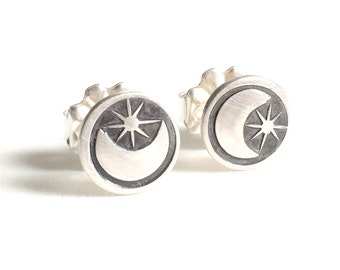 Moon and Star stamp stus earrings in sterling silver
