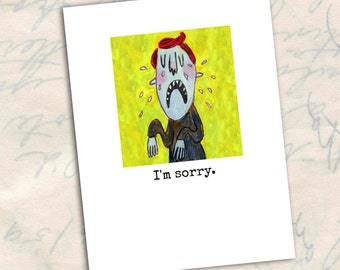 I'm Sorry, greeting card, sad, condolences, sympathy, illness,  apology, make up card A2 size by Murphy Adams