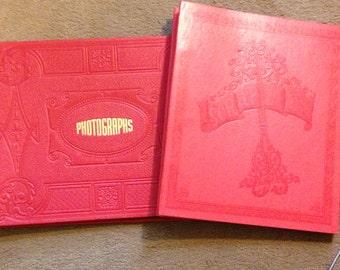 Scrapbook Photo Album TWO Red Vintage 50s