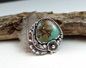 Old Stock Royston Rustic BohemianTurquoise Stone Bezeled in Sterling Silver Ring Size7.0, statement ring, rustic, boho, gypsy