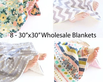 Wholesale Set of 8 - 30x30 Baby Blankets, Toddler Blankets, You Choose Prints