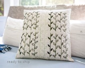 Modern Handprinted Pillow Quilted One-Of-A-Kind Pillow 17x17 Decorative Neutral Decor Vine and Leaf Print Gift for Her Linocut Block