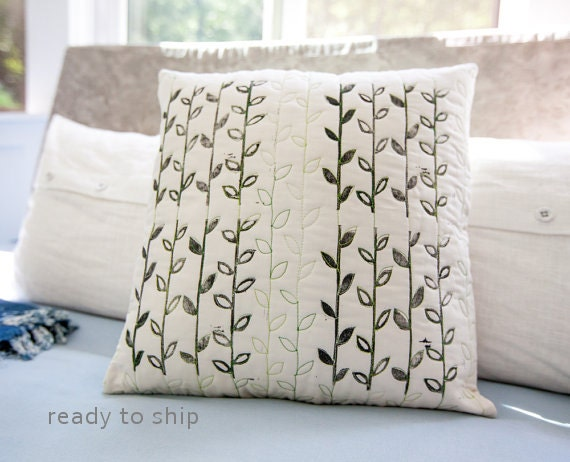 Modern Quilted Pillow : Modern Handprinted Pillow Quilted One-Of-A-Kind Pillow 17x17