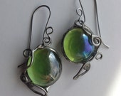 Budding, Modern Stained Glass Green Earrings