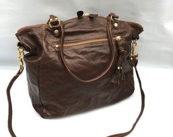AW15 leather bag in vintage brown