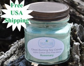 Soy Wax Candle - Rosemary Scent - Cotton Wick - 8oz Clean Burning Candle - Natural Soy Wax - Free USA Shipping