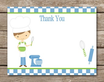 PRINTABLE Chef Party Thank You Cards - Cooking Party - Birthday - Baking - Pampered Chef - Boy