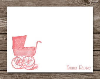 Baby Carriage Cards - Baby Girl - Vintage - Thank You - Note Cards - Notecards - Pink - Personalized - Set of 8