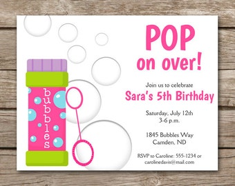 PRINTABLE - Bubbles Invitation - Bubbles Birthday Party - Pink - Girl