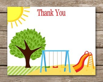 PRINTABLE - Park Birthday Thank You Card - Playground - Play Ground - Bbq - Picnic - Slide - Swing - Sun