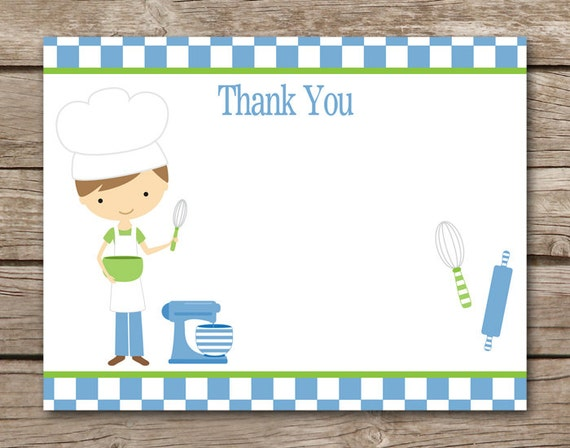 Thank You For Baking: Chef Party Thank You Cards Cooking Party Birthday Baking