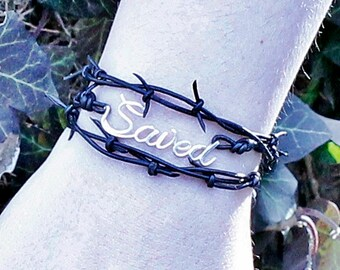 Saved Bracelet Sterling Silver Leather Wrap Bracelet Crown of Thorns Bracelet Barbed Wire Baptism Gift Christian Jewelry