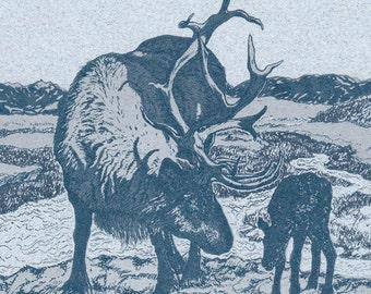 Mother and Calf Reindeer Letterpress Printed Card Original Illustration
