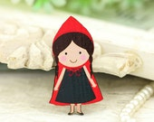 4pcs Wooden Little Red Riding Hood Charms, Laser Cut Wood little girl  Pendants HW045E