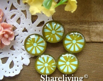 20% OFF SALE - Glass Cabochon, 8mm 10mm 12mm 14mm 16mm 20mm 25mm 30mm Round Handmade photo glass Cabochons  (Flower) -- BCH080G