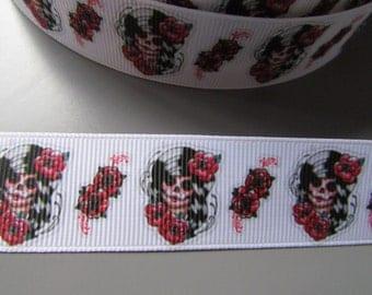 Sugar Skull Calaveras Day of the dead Tattoo Grosgrain Ribbon x 1 metre
