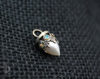 Pearl Enchantress Pendant // Freshwater Pearl and Swarovski and Sterling Silver petite, by BellaLili, Welded Silversmith