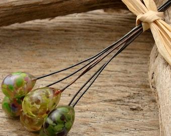 HEADPIN MIX - Handmade Lampwork Head Pins - 6 Headpins