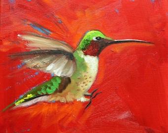 Bird painting 253 Hummingbird 12x12 inch portrait original oil painting by Roz