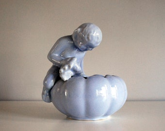Niloak Ceramic Planter, Pan Satyr Art Pottery Bowl, Lavender Blue Pot, Joe Alley Design, Woodland Fairy, Vintage Planter Bowl, Cottage Chic