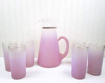Vintage Purple West Virginia Glass Blendo Pitcher & 6 Glasses Tumblers Set Retro