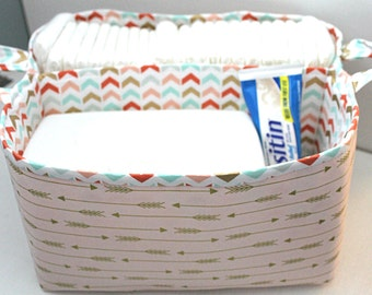 Diaper Caddy- Fabric Storage Basket- 11 X 10 Organizer Bin- Nursery Decor- Baby Shower Gift- Coral Arrow Basket
