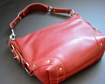SALE -Coach Carly Purse {Large Red Hobo Leather Shoulder Bag Legacy Handbag Traditional Vintage Bag  Satchel Metal Hardware 10615}