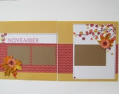 Fall Leaves Premade or  DIY Kit,12x12 Scrapbook Layout,  Scrapbook Page Kit