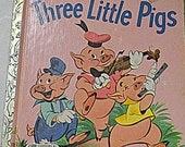 Vintage Children's Book Three Little Pigs  Little Golden Book Five Books for Ten Dollars