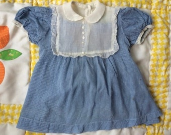 1950s Blue Gingham Dress 12/18 Months