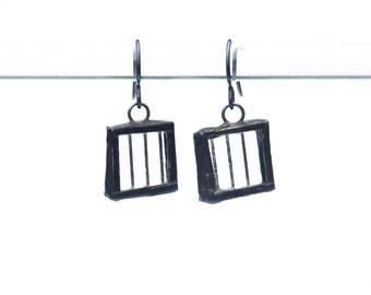 EARRINGS- Stained Glass Earrings, Clear Glass Earrings